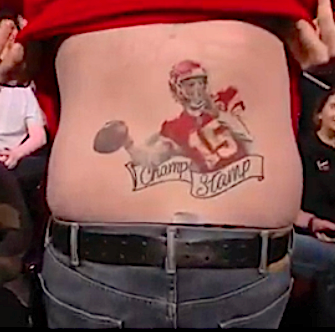 Patrick Mahomes Signed A Fans Champ Stamp Tattoo On Kimmel