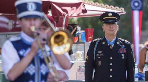 Brass instrument, Marching band, Uniform, Musician, Trombone, Wind instrument, Marching, Musical instrument, Military, Military officer,