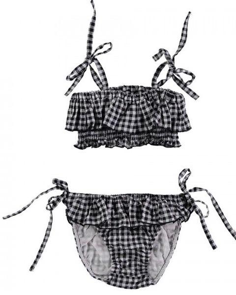 Clothing, Swimwear, Bikini, Design, Plaid, Pattern,