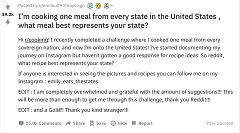 This Reddit Thread Asking For The Most Iconic Meal In Every State Is