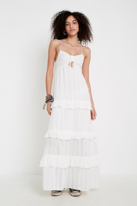 beach wedding dresses -UO Issa Tiered Ruffle Tie-Back Maxi Dress