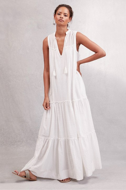 beach wedding dresses - Cotton Tiered Maxi Dress the white company