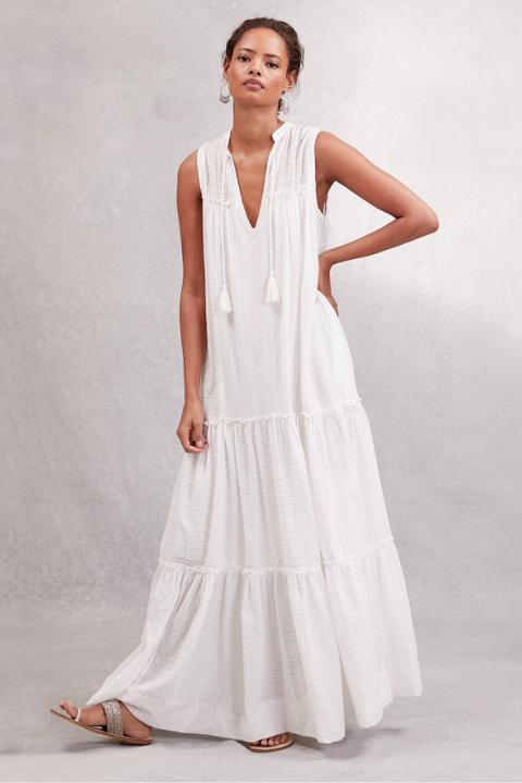 beach wedding dresses -Cotton Tiered Maxi Dress the white company