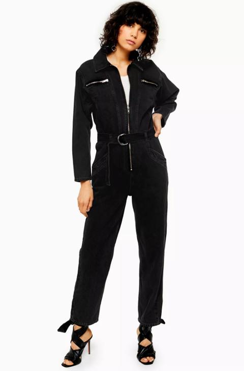 topshop jeans sale -Black Denim Boiler Suit