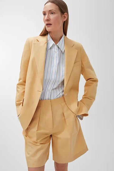 arket linen tailored short suit