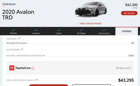 2020 Toyota Avalon TRD-Konfigurator
