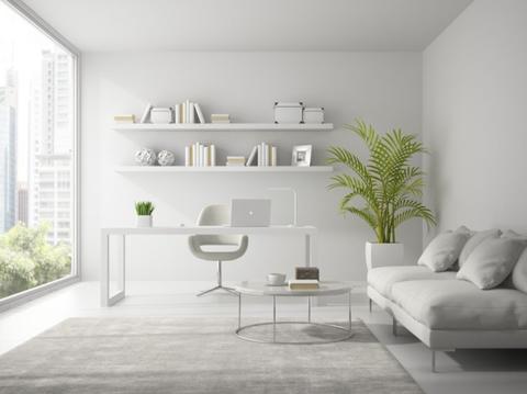 White, Furniture, Room, Shelf, Interior design, Living room, Floor, Wall, Property, Shelving,