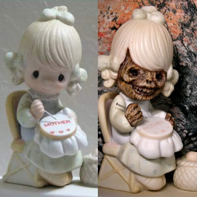 This Artist Turns Precious Moments Figurines Into Terrifying Sculptures