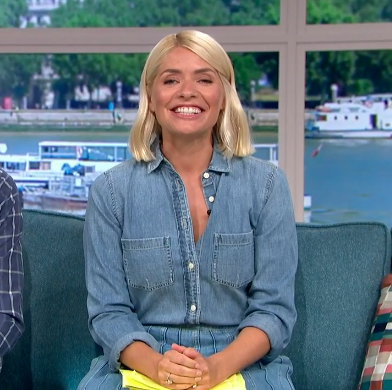 Holly Willoughby nails double denim with pretty skirt and shirt combo