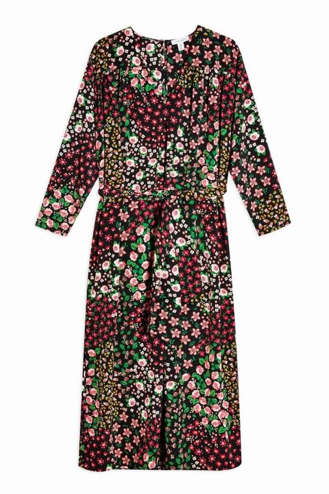TOPSHOP Multicoloured Floral Print Tie Smock Wrap Dress Price: £39