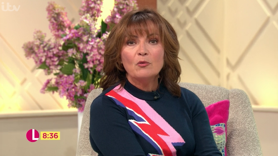 Lorraine strikes a pose in knitted Joanie jumper