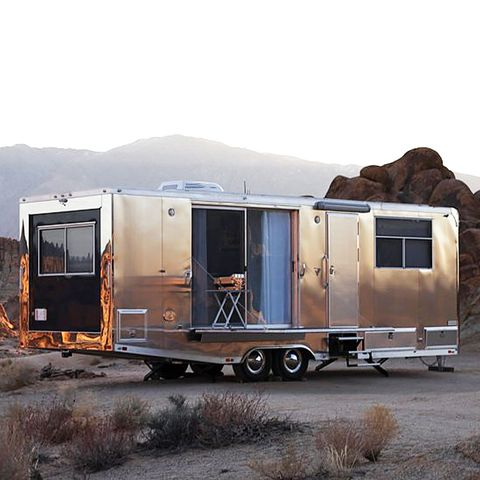 Transport, Vehicle, Travel trailer, Trailer, Sky, House, Landscape, Home, Caravan, RV,