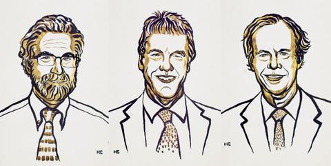 Os laureados desde ano pelo Prémio Nobel da Fisiologia ou Medicina: William G. Kaelin, Sir Peter J. Ratcliffe e Gregg L. Semenza.