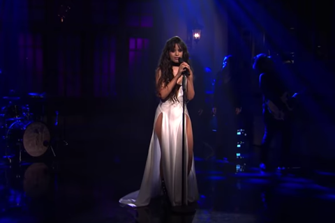 "Camila Cabello Wears Super Sexy Thigh-Slit Dress While (Maybe) Singing About Shawn Mendes on ""SNL"""