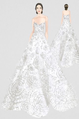 Thassia Naves wedding dress sketch