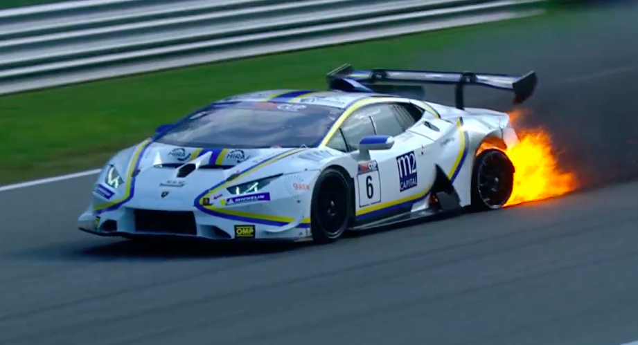 Watch a Lamborghini Huracan Take a Championship Win On Fire