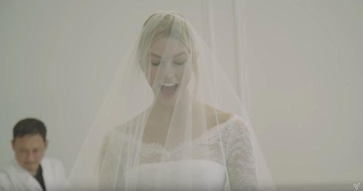 See Karlie Kloss' emotional reaction to seeing her Dior wedding gown for the first time