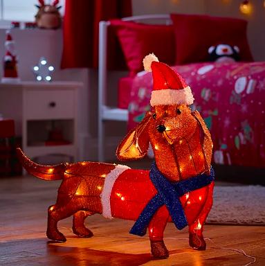 Sausage dog christmas light
