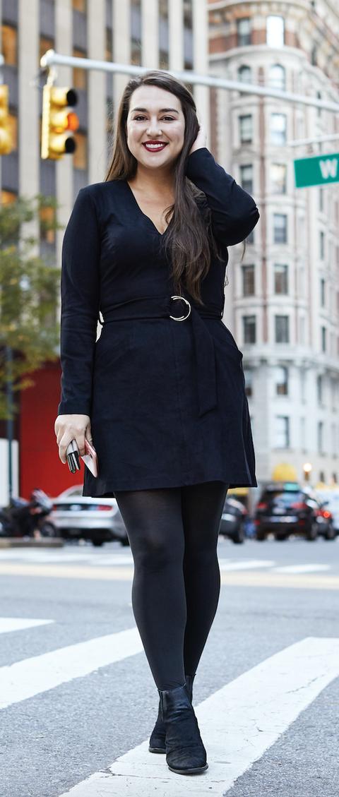 Clothing, Photograph, Black, Street fashion, Tights, Fashion, Snapshot, Dress, Outerwear, Little black dress,