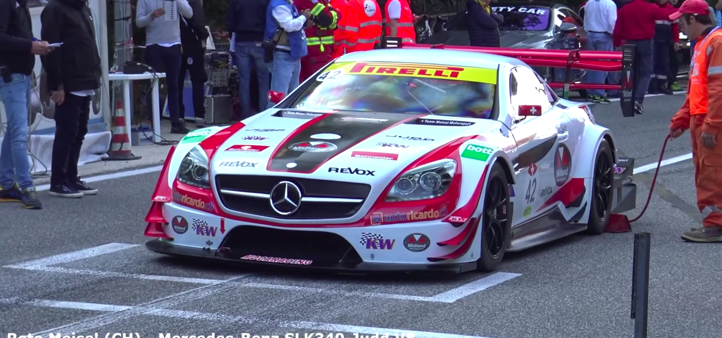 Mercedes SLK Hill Climb Machine Sounds Like an F1 Car and Shoots Flames
