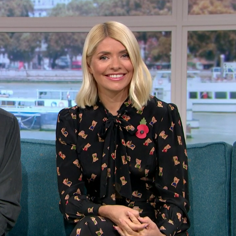 Holly Willoughby wears vintage book print dress from LK Bennett
