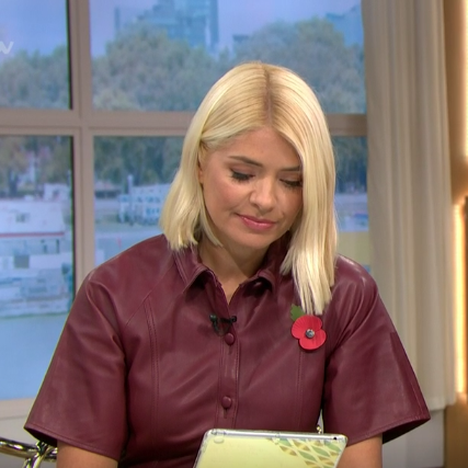 Holly Willoughby leather dress