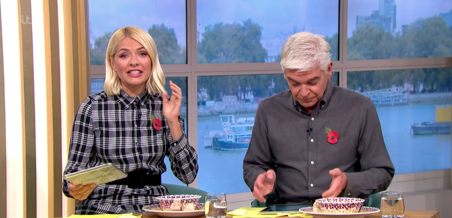 Holly Willoughby looks gorgeous in grey tartan dress