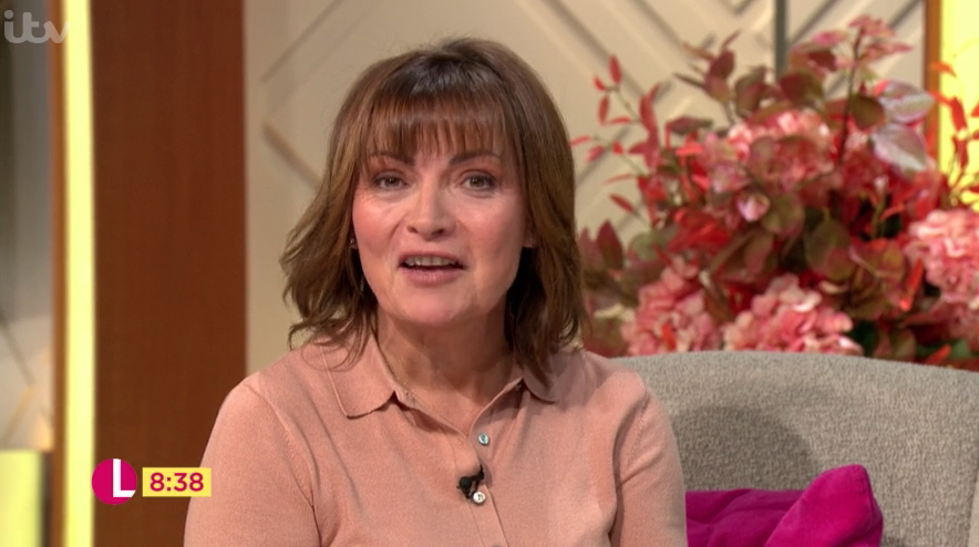 Lorraine Kelly goes all 70s in beige and leather