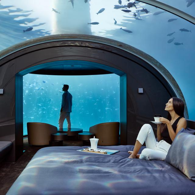 Blue, Room, Underwater, Vacation, Aquarium, Leisure, Architecture, World, Interior design, Building,