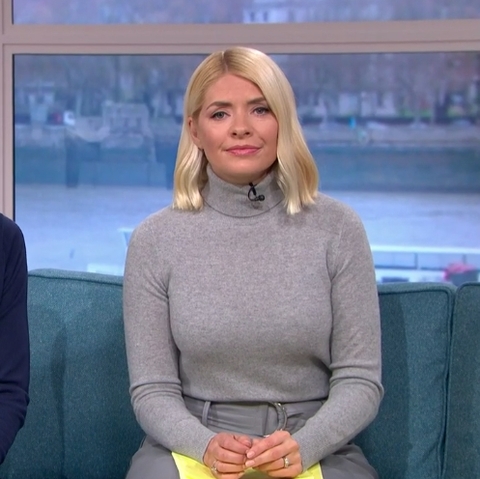 Holly Willoughby soft leather look grey skirt