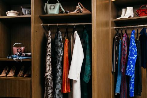 Closet, Room, Shelf, Wardrobe, Clothes hanger, Furniture, Boutique, Shelving, Collection, Cupboard,
