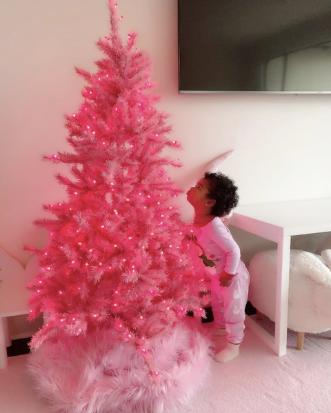 Christmas tree, Pink, Christmas decoration, Tree, Woody plant, Interior design, Plant, Christmas, Room, Pine,