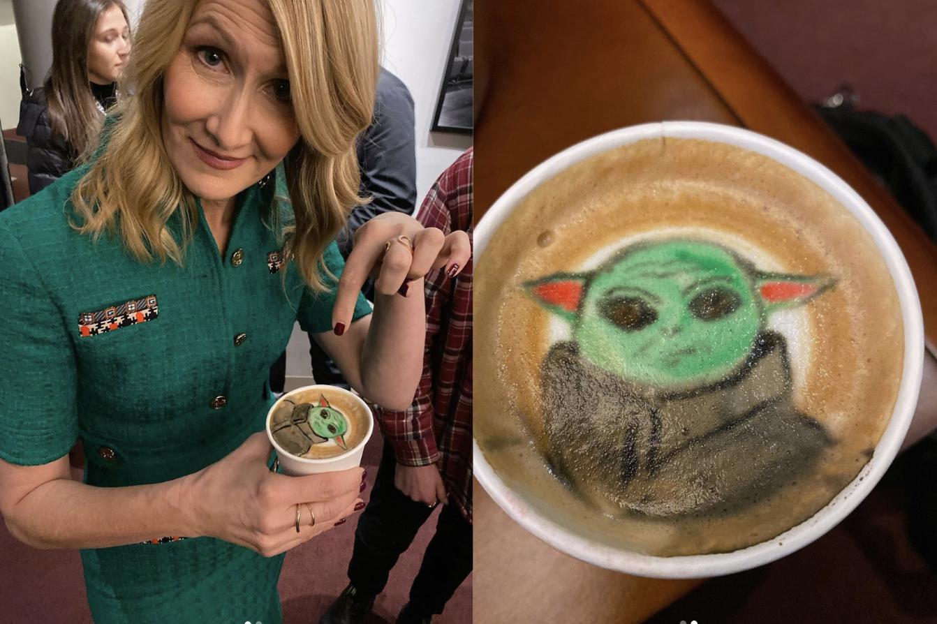 Laura Dern Drank A Baby Yoda Coffee