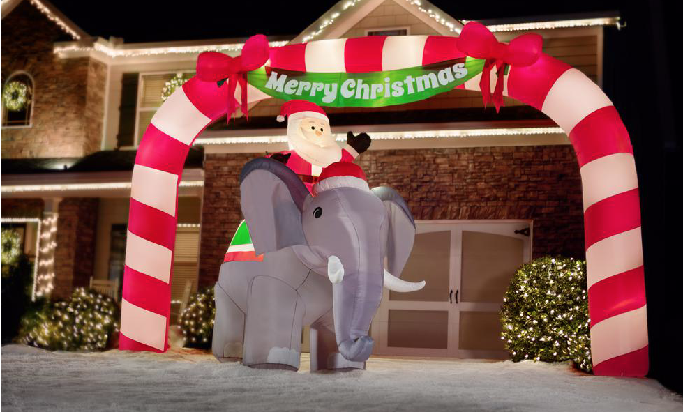 Home Depot Is Selling A Giant Inflatable Of Santa Riding… An Elephant