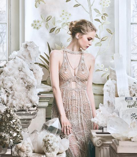 Clothing, White, Dress, Wedding dress, Gown, Bridal party dress, Bridal clothing, Shoulder, Fashion, A-line,