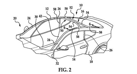 Patentový nákres Ford Mustang