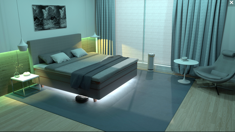 Room, Furniture, Interior design, Green, Floor, Turquoise, Bedroom, Bed, Bed sheet, Living room,