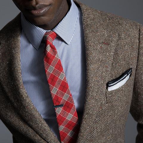 Suit, Plaid, Clothing, Blazer, Outerwear, Formal wear, Button, Pattern, Tie, Jacket,