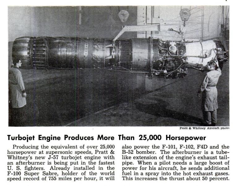 O motor Pratt & Whitney J57, destacado na edição de agosto de 1954 da Popular Mechanics.