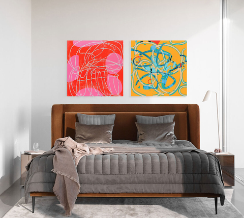 Furniture, Bed, Bedroom, Room, Orange, Interior design, Wall, Modern art, Yellow, Bed frame,