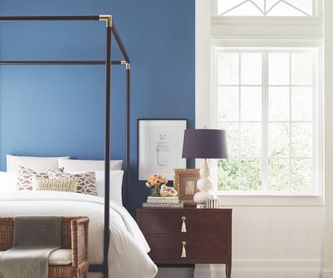 Furniture, Room, Blue, Bed, Interior design, Bedroom, Wall, Floor, Lighting, House,
