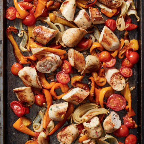high protein low carb meal - sheet pan sausage bake