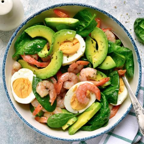 high protein low carb meal - shrimp egg avocado salad