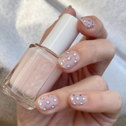 Nail polish, Nail, Nail care, Manicure, Cosmetics, Pink, Finger, Peach, Artificial nails, Polka dot,