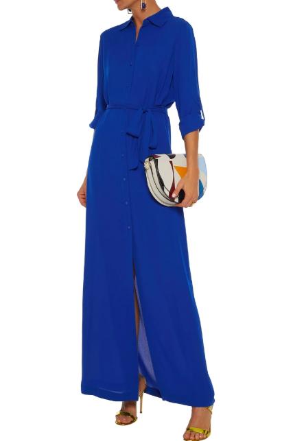 Clothing, Cobalt blue, Blue, Electric blue, Dress, Sleeve, Neck, Shoulder, Waist, Footwear,