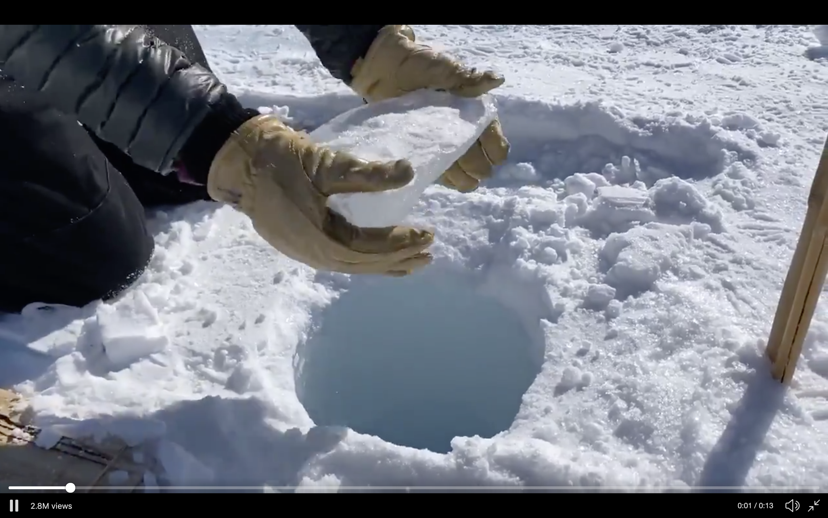 I Can't Stop Watching This Ice Chunk Fall Down an Absurdly Deep Hole