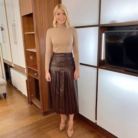 Holly Willoughby Zara leather skirt