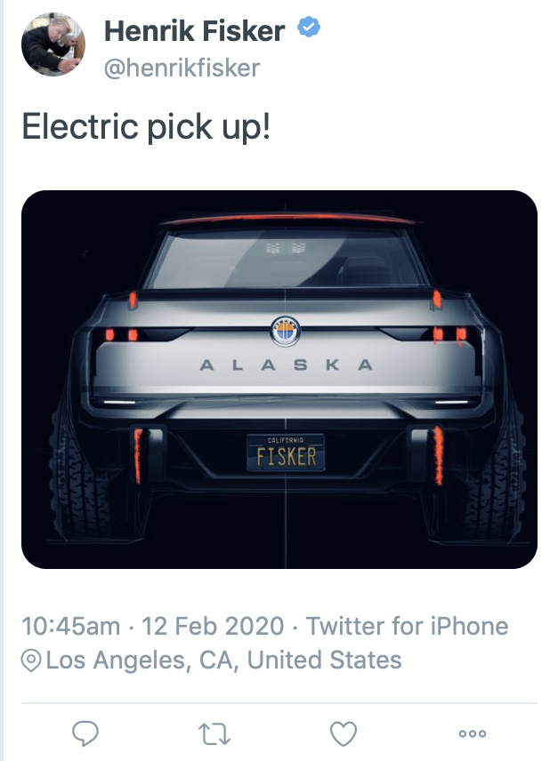 Henrik Fisker Teases, or Accidentally Posts, Upcoming Alaska Electric Truck