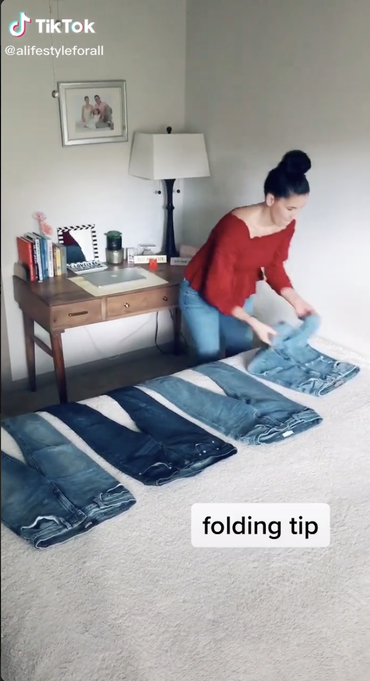 This Woman's Jean Folding Hack Is a Major Space Saver