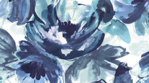 Blue, Aqua, Pattern, Teal, Flower, Botany, Design, Petal, Watercolor paint, Plant,